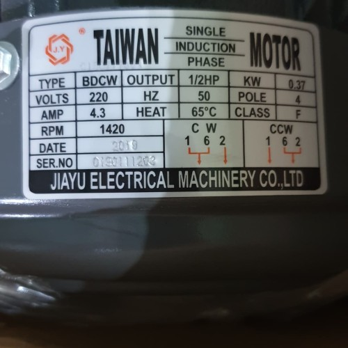 Foto Produk 1/2 HP 1 Phase Jiayu Dinamo/Elektro Motor/Electro Motor 2P/4P - 4 dari PUSAT SERBA TEKNIK