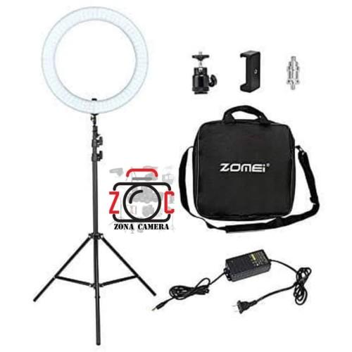 Foto Produk Ring Light LED RL18 Bi-Color Zomei Ringlight 2 Warna Ringlite Komplit dari zona camera