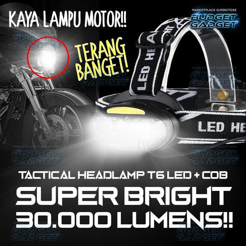 Foto Produk Lampu Kepala LED Headlamp Cree 4x XML T6 + 2x COB 30000 Lumens 2504A dari BudgetGadget