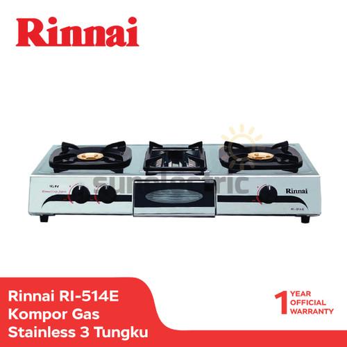 Foto Produk Rinnai RI-514 E Kompor Gas Stainless 3 Tungku Grill Pan - Silver dari SUN ELECTRIC