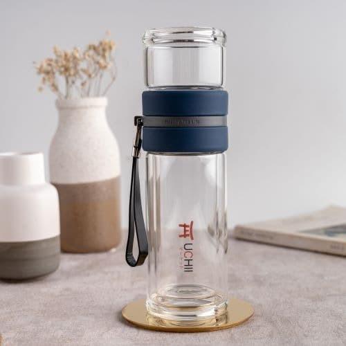 Foto Produk UCHII GASUCHA Travel Tea Double Wall Glass Tumbler 2in1 Cup Botol Blue dari uchii store
