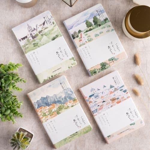 Foto Produk UCHII A5 Note Memo Book Japan Landscape | Buku Tulis Bergaris PU Cover - 4 - Forest View dari uchii store