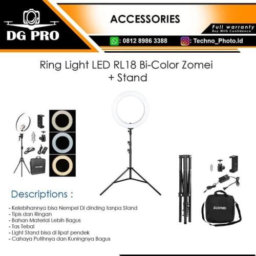 Foto Produk Ring Light LED RL18 Bi-Color Zomei Ringlight 2 Warna Ringlite + Stand dari DG PRO