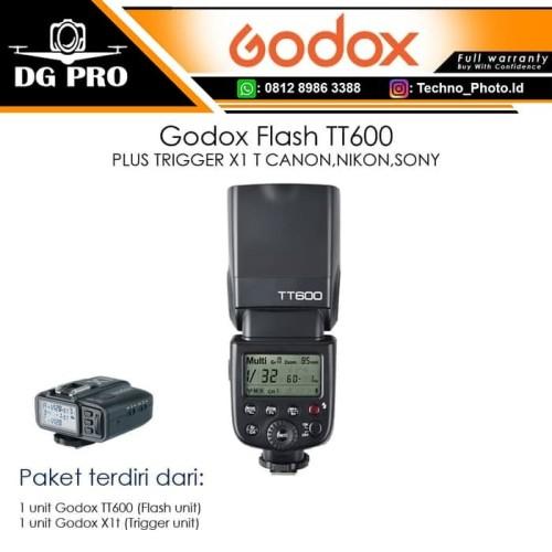 Foto Produk Godox Flash TT600 + X1T / TT 600 PLUS TRIGGER X1 T CANON,NIKON,SONY - For Canon dari DG PRO
