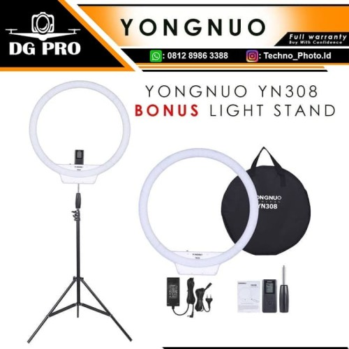 Foto Produk Ring Light Ringlight Ringlite Yongnuo YN308 Bonus AC Power + Stand dari DG PRO