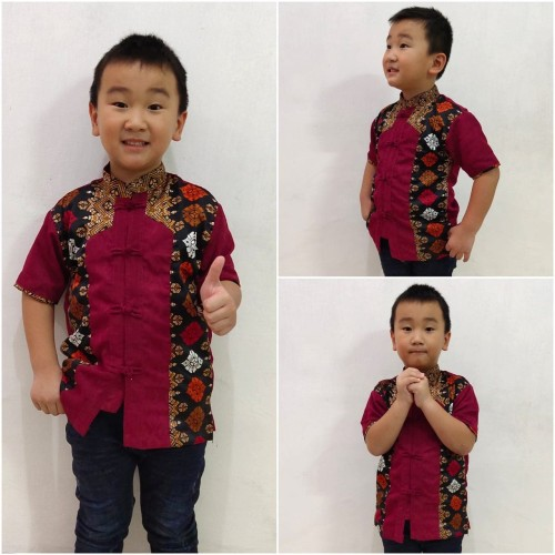 Foto Produk Baju cina imlek lienzu batik lengan pendek anak - M dari Angelsammy shop