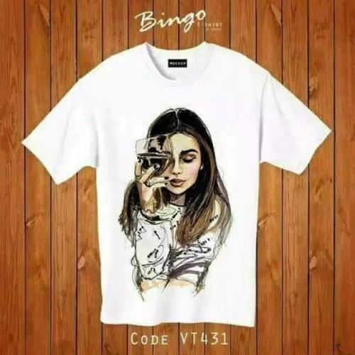 Foto Produk Kaos Wanita Tshirt Tee Wine Girl Printing Bahan Spandex dari Lee Jow