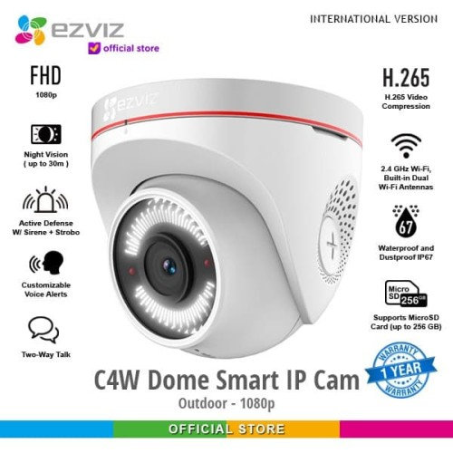 Foto Produk EZVIZ C4W Dome 1080P Outdoor Smart IP Camera CCTV with Active Defense dari Ezviz Official Store