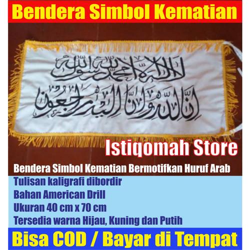 Foto Produk Bendera Simbol Kematian Warna Putih Full Bordir Bertulisan Kaligrafi dari Istiqomah-Store