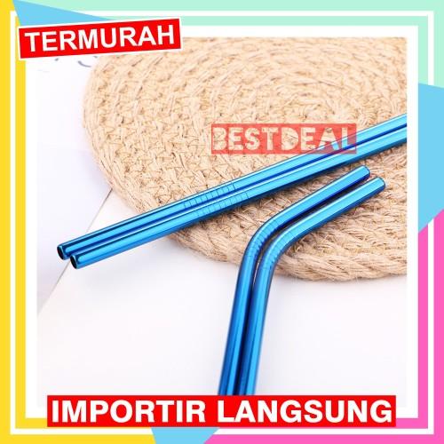 Foto Produk Sedotan Stainless Steel Straw BIRU - Sedotan Metal dari Nusantara Best Deal