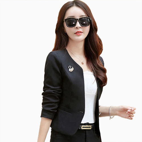 Foto Produk Blazer Kantor Wanita Gaya Korea Cantik Murah Terbaru - Jfashion Seoyun - Hitam, M dari j--fashion