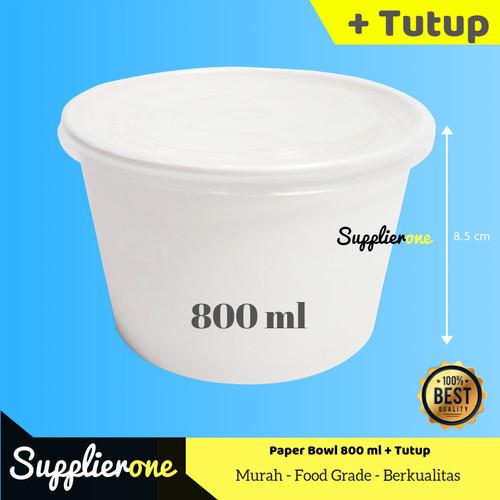 Foto Produk Paper Bowl 800 ml + Tutup, Mangkok Kertas, Rice Bowl, Kemasan Makanan dari supplierone