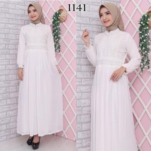 Foto Produk Gamis Putih Lebaran / Gamis Premium / Gamis Syari / Gamis Pesta 1222 dari Hitjab & Co
