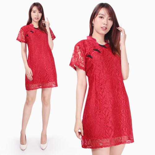 Foto Produk Dilona Dress brukat cheongsam maxi pendek wanita jumbo M-XXL - M dari Xanadu Shop