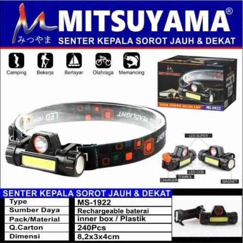 Foto Produk headlamp mitsuyama ms 1922 - senter kepala led COB recharge baterai dari dpeakoutdoor