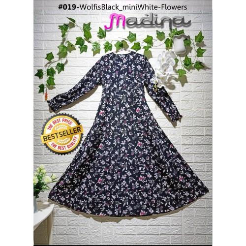 Foto Produk Gamis Syari Dress Muslimah Wolfis Hitam mini Flowers White dari sigmashop