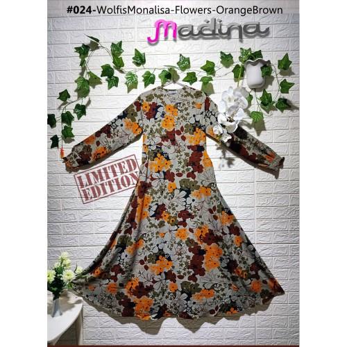 Foto Produk Gamis Syari Muslimah Wolfis Monalisa Abu Flowers Orange Brown dari sigmashop
