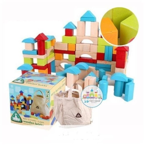 Foto Produk Mainan anak edukasi - elc blocks - mainan balok kayu - wooden toys dari 2D