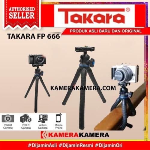 Foto Produk Tripod Mini Takara FP-666 Ballhead Gorillapod Camera DSLR/Smartphone dari kamerakamera