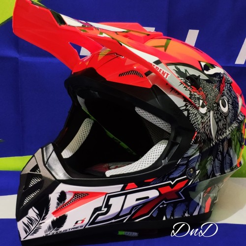 Foto Produk Helm Cross JPX - JPX Cross Fox1 X13 OwL Red fluo dari DnD Motocross