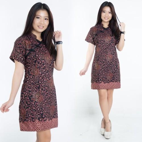 Foto Produk Dress Batik Jumbo Kira Shortdress Cheongsam Wanita - M dari holy Beauty