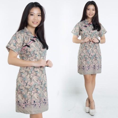 Foto Produk Dress Batik Jumbo Onin Shortdress Cheongsam Wanita - M dari holy Beauty