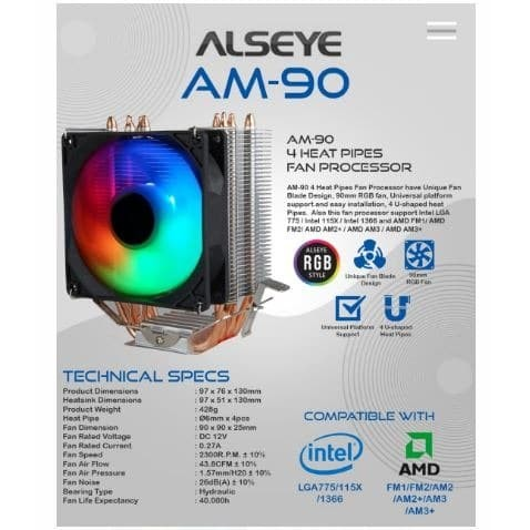 Foto Produk Alseye RGB AM-90 for 4 heat pipes for intel and AMD fan processor dari global aksesoris