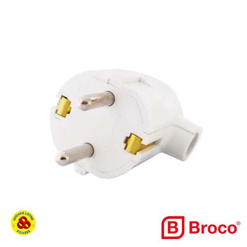 Foto Produk Broco Steker Arde L 13312 Bulat Putih Sideway Plug Colokan Samping dari Gudang Listrik