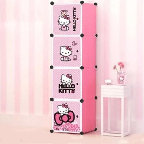 Foto Produk lemari pakaian plastik rak baju anak bayi rak buku tas 4 pintu - pink pintu HK dari SHOP AYU