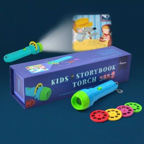 Foto Produk Mainan Anak SENTER PROYEKTOR tentang cerita/KIDS STORYBOOK TORCH dari lovely kayy