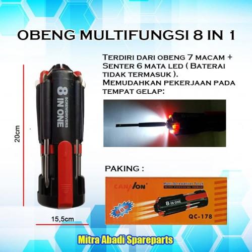 Foto Produk 8 in one Multi-Screwdriver Torch/7 Obeng Senter Flashlight QC-178 dari Mitra Abadi Spareparts