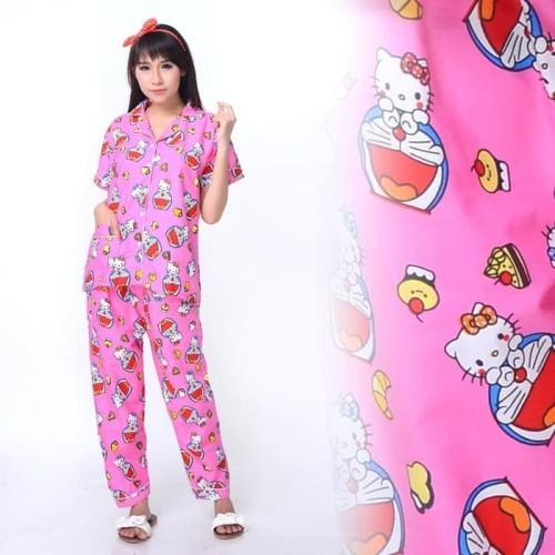 Foto Produk ASIAfashion Piyama Wanita / Baju Tidur Doraemon & Hello Kitty CP - Biru Muda dari ASIA.fashion