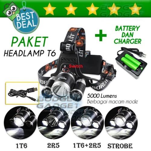 Foto Produk PAKET HEMAT Lampu Kepala T6 High Power Headlamp + 2 BATERAI + CHARGER dari BudgetGadget
