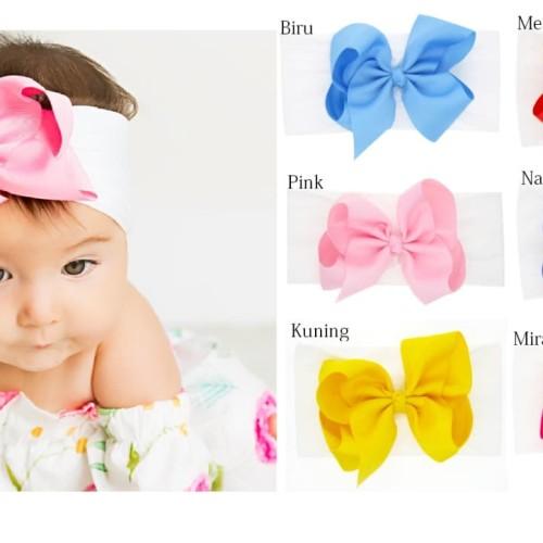 Foto Produk Bando Bayi / Bandana Bayi / Headband Bayi Cantik - BIRU dari M&K ( Mom & Kids)