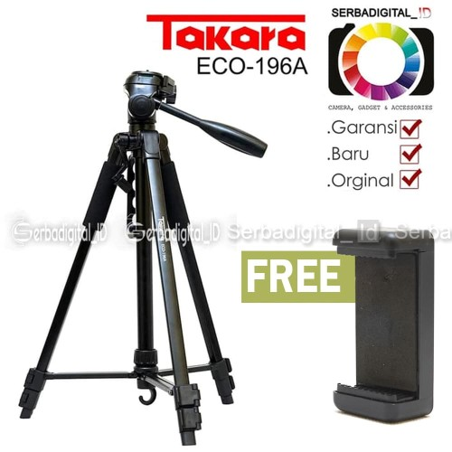 Foto Produk TAKARA ECO-196A Lightweight Tripod With Bag,Holder for Smartphone, cam dari serbadigital-id