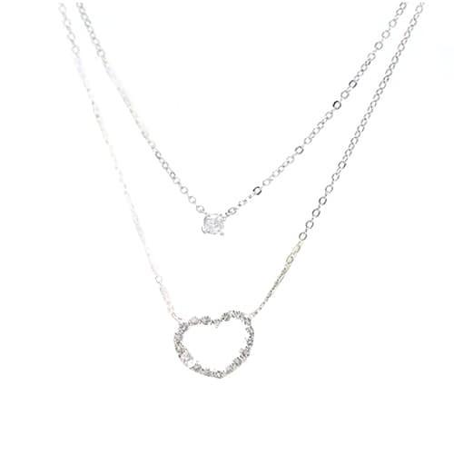Foto Produk kalung 2 rantai hati berlian / diamond heart double necklace JKA011 dari Oila