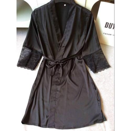 Foto Produk Ivy Lingerie Sexy Kimono Silk Robe Bathrobe + G String Black Hitam dari MauSeksi