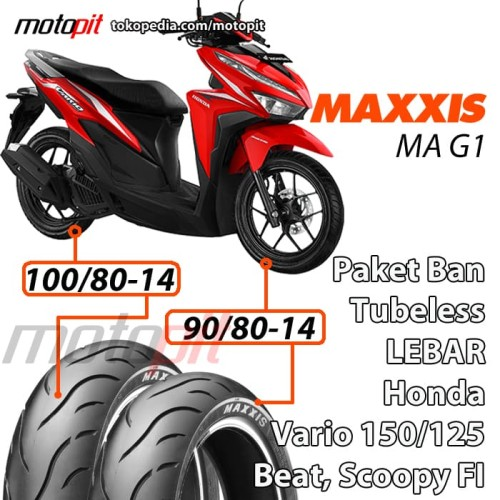 Foto Produk Maxxis Paket Ban Lebar Vario 150 125 Sepasang 90/80-14 100/80-14 MA G1 dari Motopit