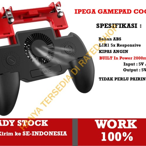 Foto Produk Gamepad PUBG IPEGA All In One Cooling Fan + L1R1 + Power 2000mAh dari Rated Shop