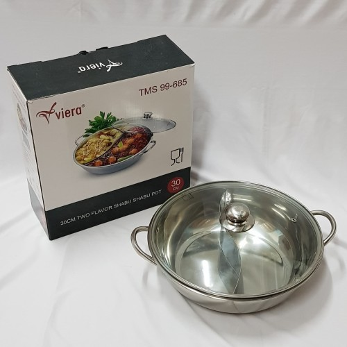 Foto Produk Panci Shabu Shabu Sekat Viera 30 cm / Shabu Suki Pot Stainless dari Damian's Kitchen
