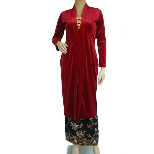 Foto Produk Kebaya Set Beludru Panjang Marun dari Ulfa's Kebaya