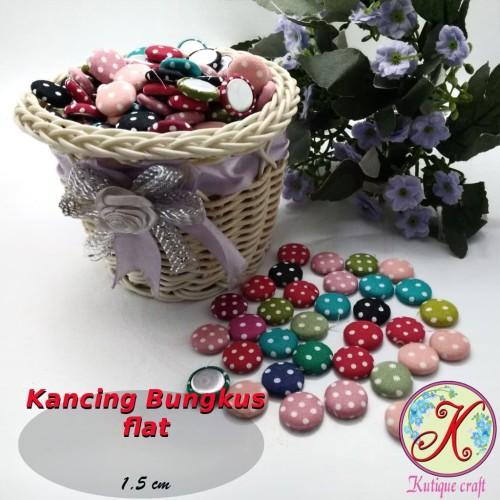 Foto Produk Kancing Bungkus Flat 1,5cm Polka per 100 pcs dari Kutique Craft