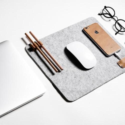 Foto Produk UCHII Felt Mouse Pad Multi Purpose Device Mat Holder Tatakan Organizer dari uchii store