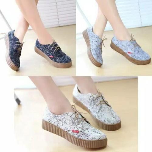 Foto Produk LARICHI Sepatu Wanita Sneakers Tali Kets Kanvas DHH03 dari DETECTOR