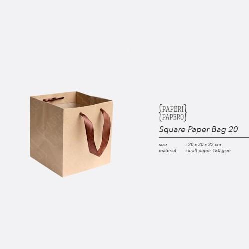 Foto Produk Square Paper Bag / Shopping Bag Coklat untuk Box Kue - 20x20x22 cm dari {Paperi Papero}