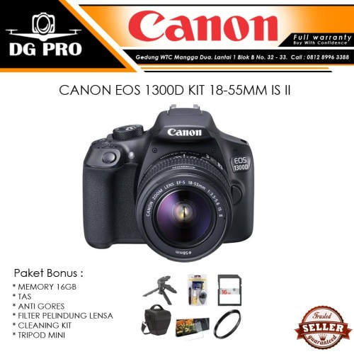 Foto Produk CANON EOS 1300D KIT 18-55MM IS II PAKET BONUS - CAMERA DSLR KIT IS 2 dari DG PRO