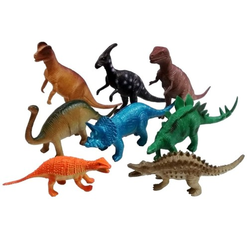 Foto Produk Set 8pcs Dinosaurus Karet Besar Mainan Miniatur Dino World dari Grandia Shop