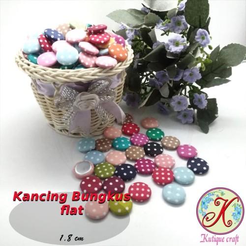 Foto Produk Kancing Bungkus Flat 1,8cm Polka per 100 pcs dari Kutique Craft