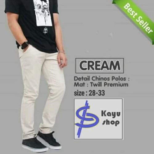 Foto Produk Celana Chino Skinny Pria Cream light grey - Abu-abu Muda, 29 dari kayu shop