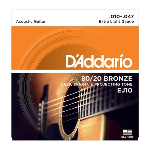 Foto Produk Senar Gitar D'addario Akustik EJ10 Original .010 - .047 dari Grandia Shop